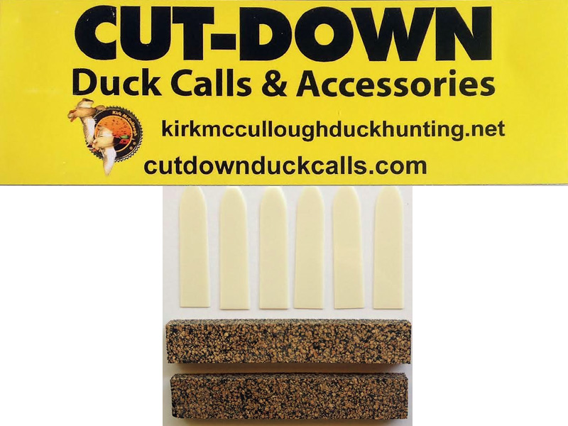 Cut Down Duck Call Reed & Cork Strip Sets: 6 reeds 2 cork