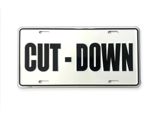 Cut-Down Duck Call Truck License Plate – White