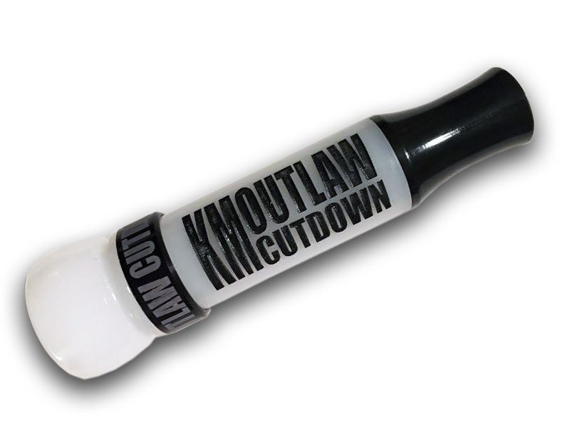 KM OUTLAW CUTDOWN Duck Call White with Painted Letters and Black Band and Flared Insert