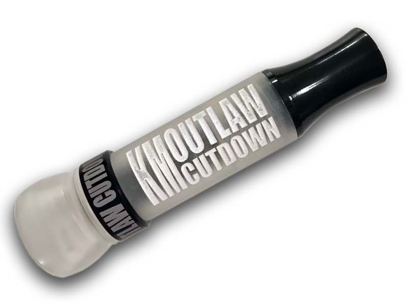 KM OUTLAW CUTDOWN Duck Call Clear Barrel Clear Rough Finish with White Painted Letters and Black Band and Flared Insert