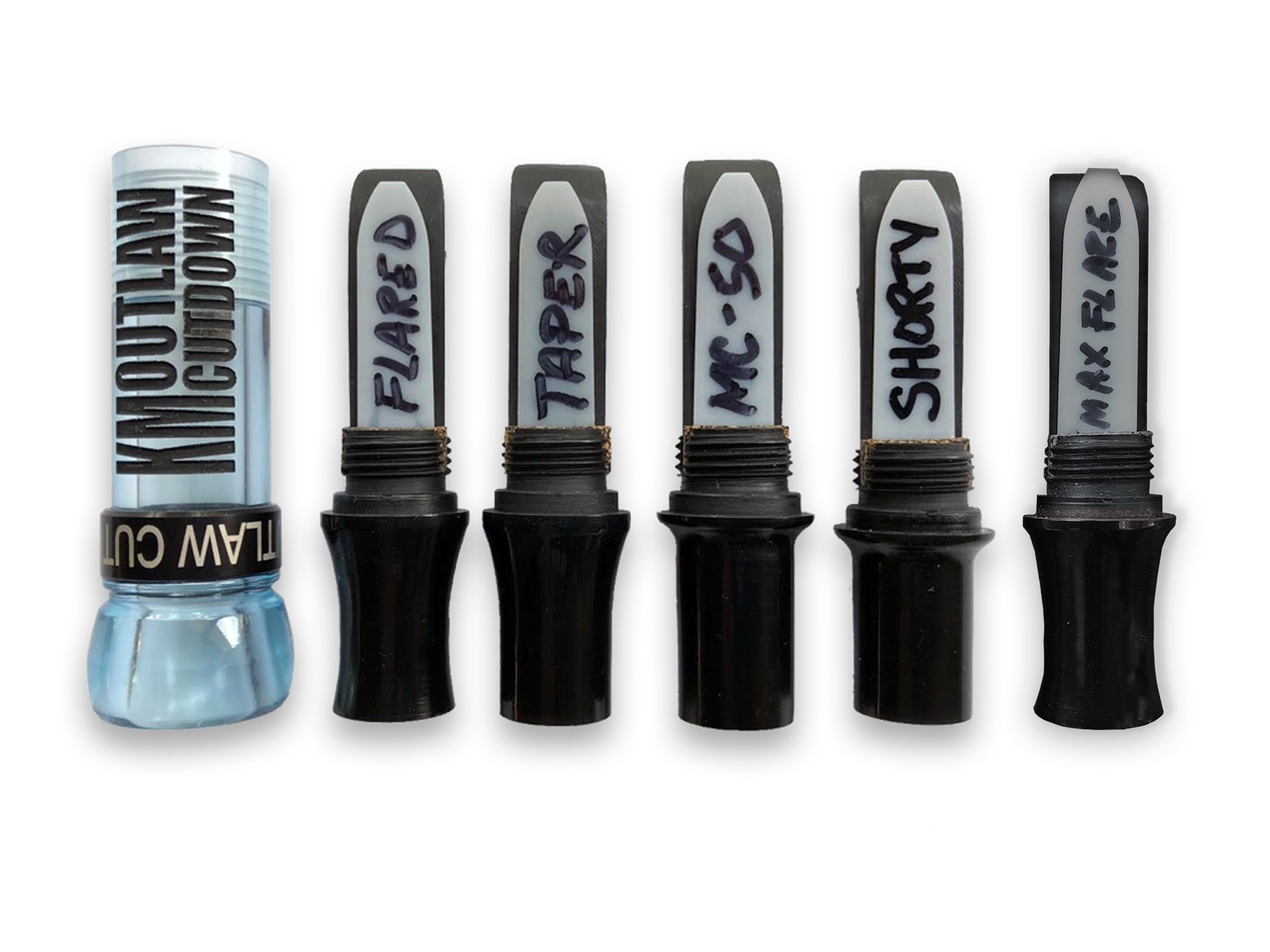 KM OUTLAW CUTDOWN Duck Call Clear Blue and Black Band with 5 Interchangeable Duck Call Cast Mold Inserts