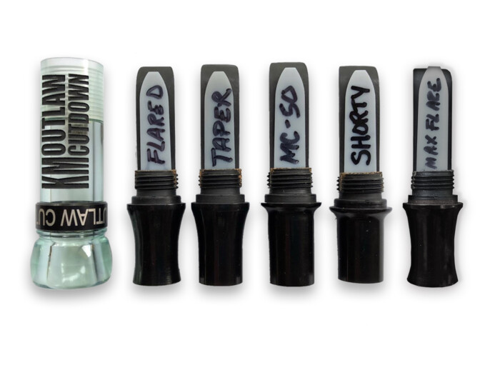 KM OUTLAW CUTDOWN Duck Call Coke Bottle and Black Band with 5 Interchangeable Duck Call Cast Mold Inserts
