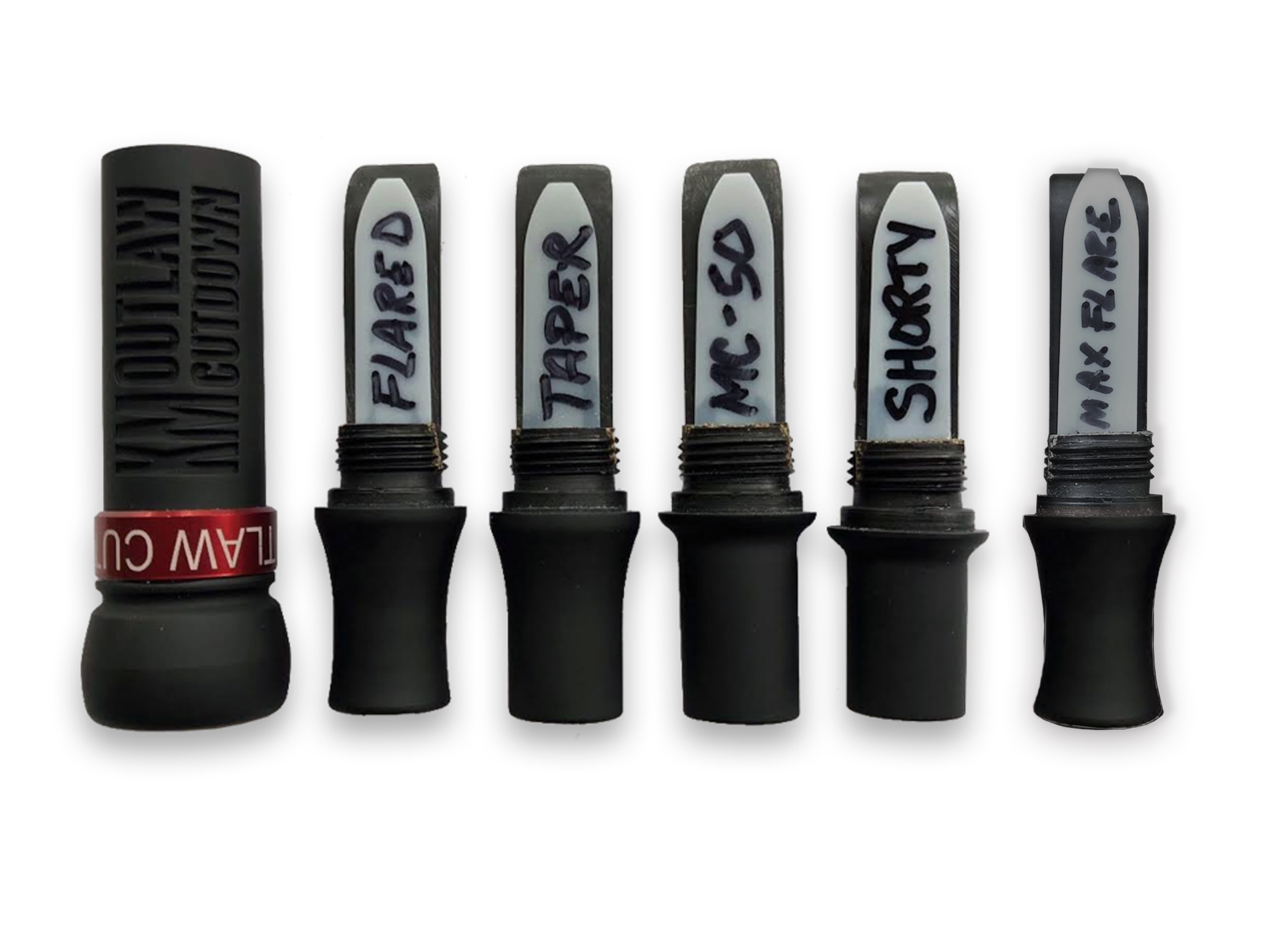 Flat Black KM OUTLAW CUTDOWN Duck Call and Red Band with 5 Interchangeable Duck Call Cast Mold Inserts