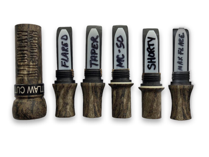 Mossy Oak Camo KM OUTLAW CUTDOWN Duck Call with 5 Interchangeable Duck Call Cast Mold Inserts